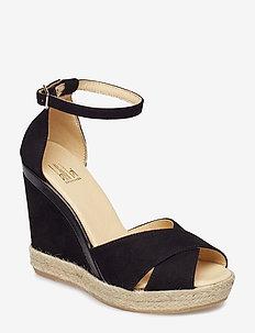 ESPADRILLA 8940 - heeled espadrilles - black suede 50