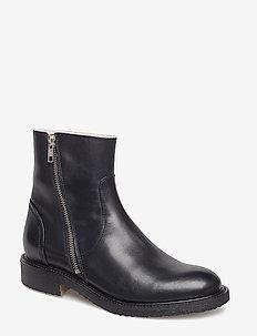 Boots 913102 - platte enkellaarsjes - black calf 80