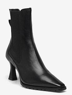 Booties - ankelstøvler med hæl - black nappa