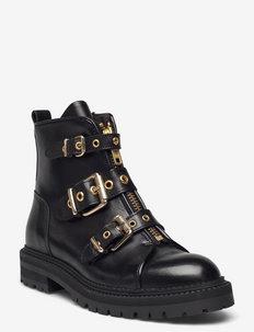 Boots - flade ankelstøvler - black calf/gold 602