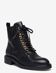 Boots - flache stiefeletten - black calf/gold 602