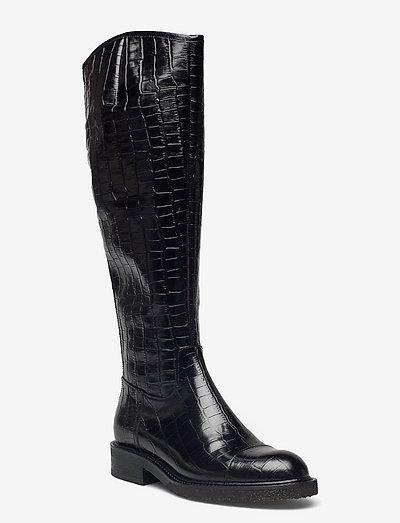 Long Boots 34770 - langskaftede - black croco/gold 020