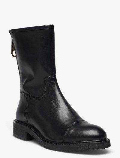 Boots - flade ankelstøvler - black calf 80