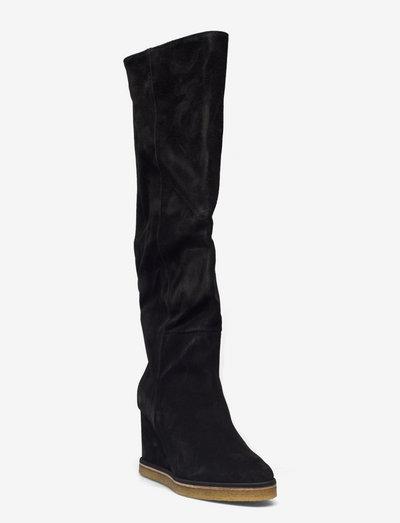 Long Boots A1335 - langskaftede - black babysilk suede 500