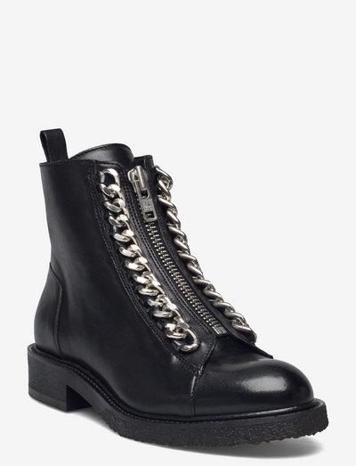 Boots - flade ankelstøvler - black buffalo/silver 803
