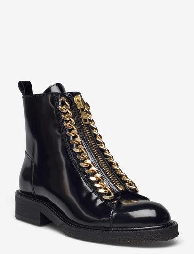Boots - flade ankelstøvler - black polido/gold 902
