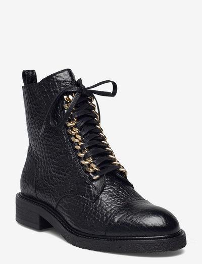 Boots - flade ankelstøvler - black elephant/gold 402