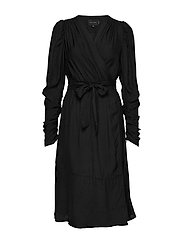 Dolly  Wrap Dress - BLACK