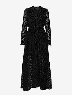 Paula Long Dress - BLACK POLKA DOTS