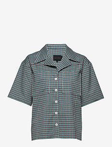 Seven Shirt - short-sleeved shirts - turquoise & brown checks