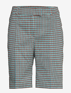 Para Shorts - bermuda-shortsit - turquoise & brown checks