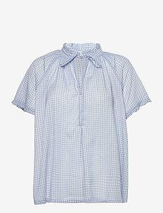 Lakiin Blouse - kortærmede bluser - light blue checks