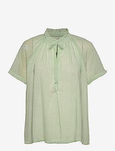 Lakiin Blouse - kortærmede bluser - light green checks