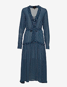 Maggie Dress - robes midi - blue dots