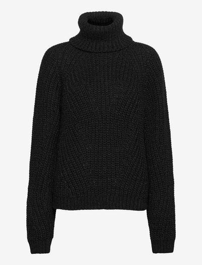 Henny Knit Turtleneck - turtlenecks - black melange