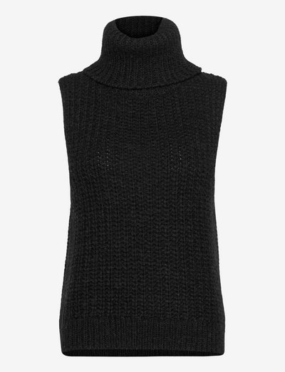 Doreen Knit Vest - knitted vests - black melange