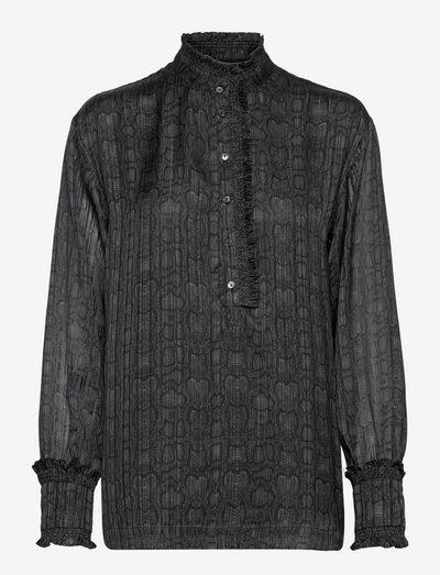 Lou Blouse - long sleeved blouses - snake grey