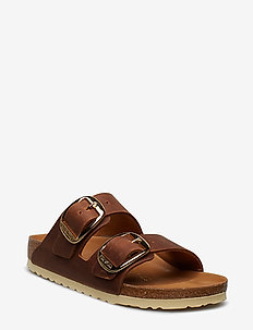 Arizona Big Buckle - flache sandalen - cognac