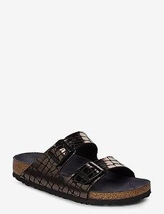 Arizona - flate sandaler - gator gleam black