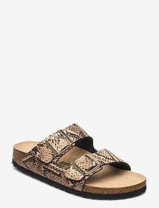 Arizona - flate sandaler - snake beige