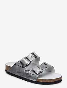 Arizona - flate sandaler - vintage metallic grey silver