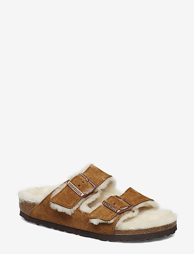 Arizona Shearling - Narrow - platta sandaler - mink