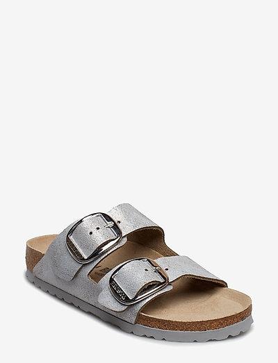 Arizona Big Buckle - flade sandaler - washed metallic blue silver