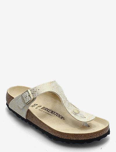 Gizeh - flade sandaler - shiny python egsehell/gold