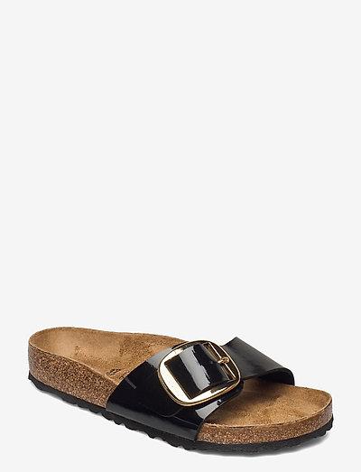 Madrid Big Buckle - flade sandaler - patent black