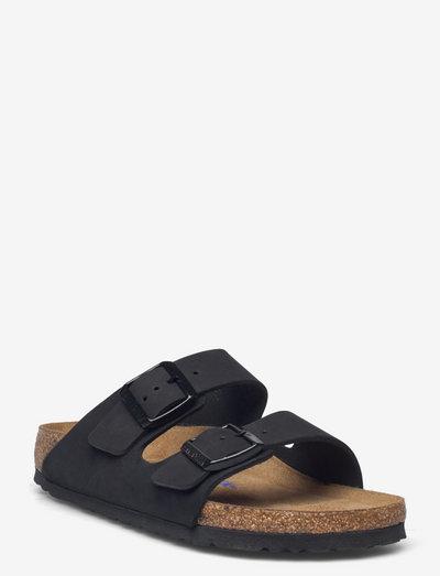 Arizona Soft Footbed - Nubuck Leather - flade sandaler - black