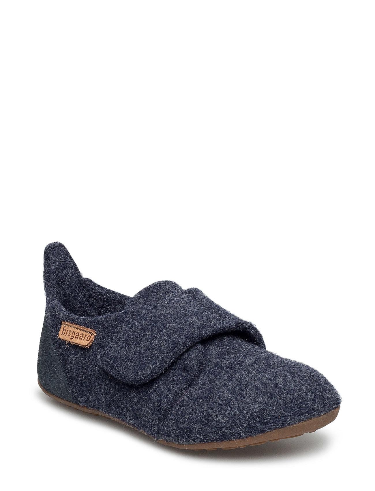 Image of Home Shoe - Wool Velcro Slippers Hjemmesko Blå Bisgaard (2382643173)