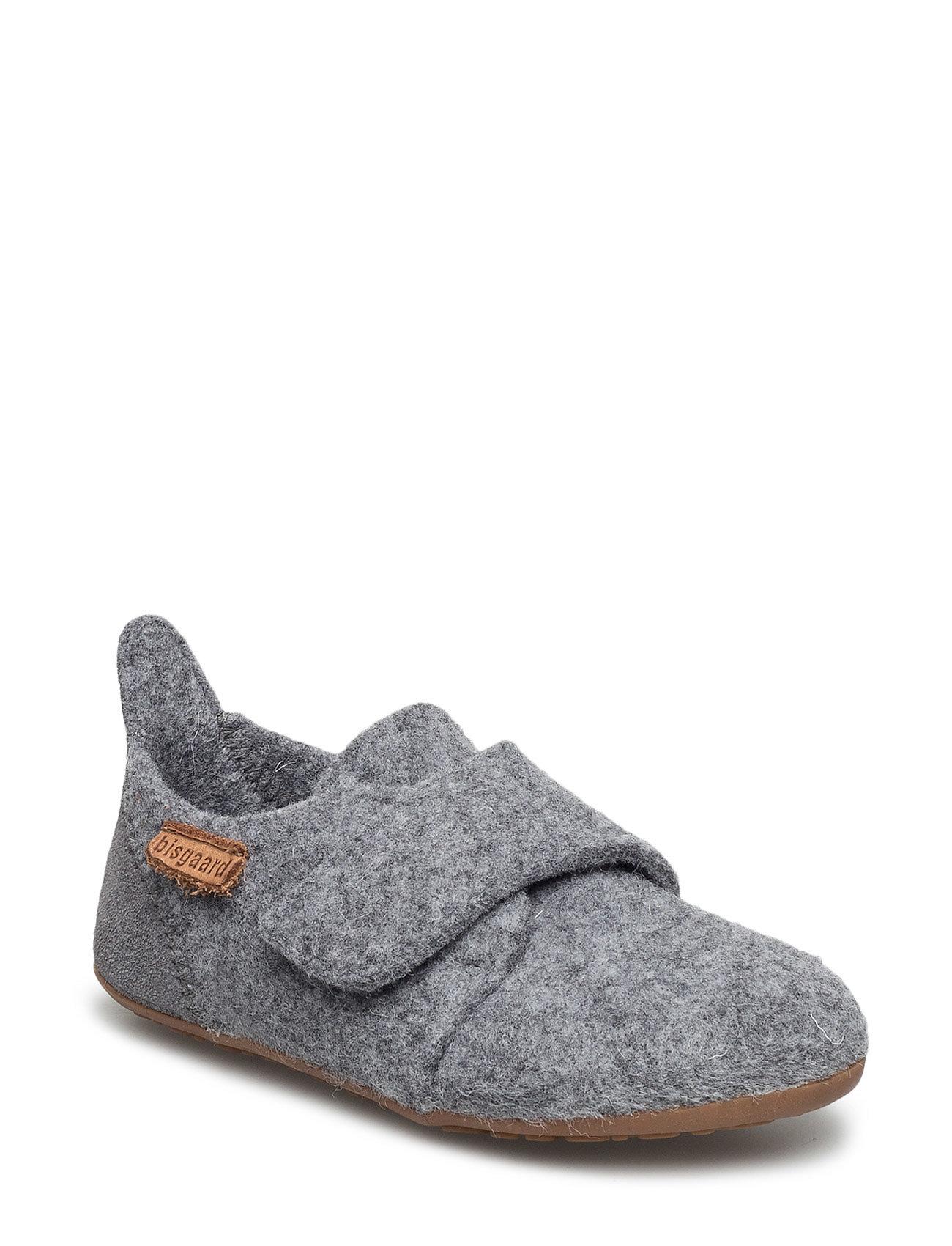 Image of Home Shoe - Wool Velcro Slippers Hjemmesko Grå Bisgaard (2382643171)