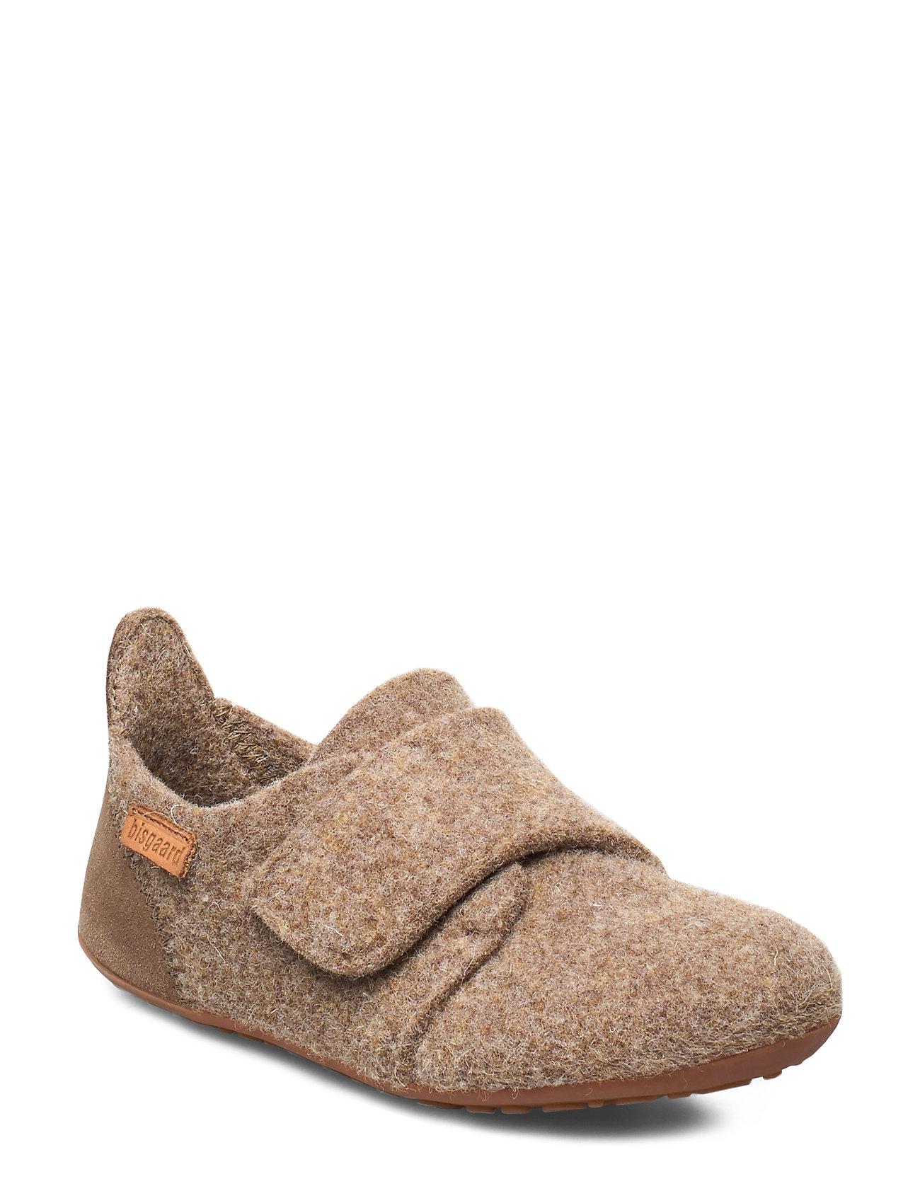 Image of Home Shoe - Wool Velcro Slippers Hjemmesko Grå Bisgaard (3288147259)