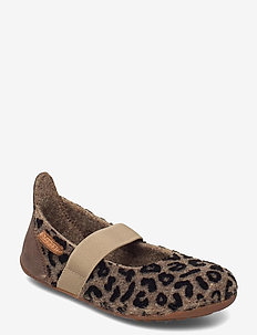 "HOME SHOE - ""WOOL BALLET"" - baleriny - brown-leopard"
