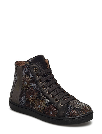 Shoe with lace - BROWN-FLOWERS