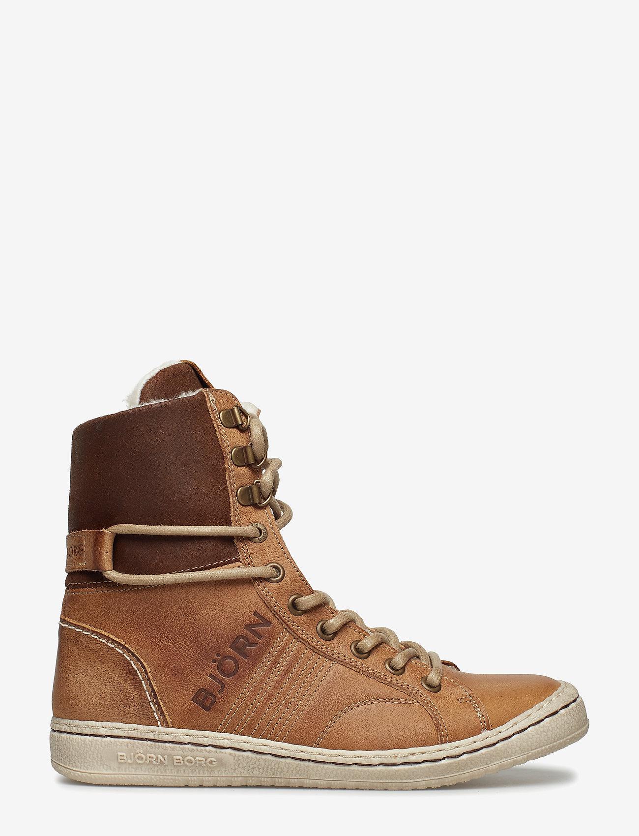 Björn Borg - WENDY HIGH FUR W - flat ankle boots - tan - 1