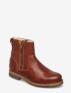 Joss High Zip W - flat ankle boots - tan