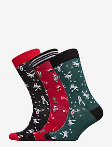 SOCK ANKLE BB FUN SANTA XMAS-BO - JESTER RED