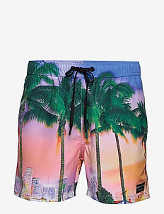 SID SID SWIM SHORTS - BB SUNSET PALM NASTURTIUM