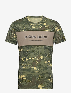 BLOCKED TEE STHLM STHLM - t-shirts - digital woodland xl duck green