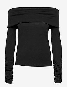 Carisi Off Shoulder - gebreide t-shirts - black