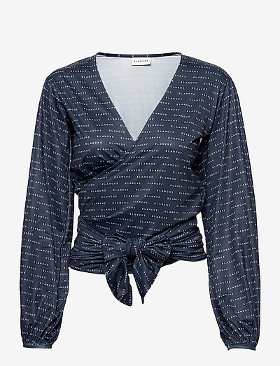 BLANCHE x BOOZT Comfy Wrap - BZ - langärmlige blusen - duke blue