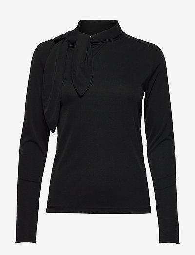 Carisi Tie Blouse - langärmlige blusen - black