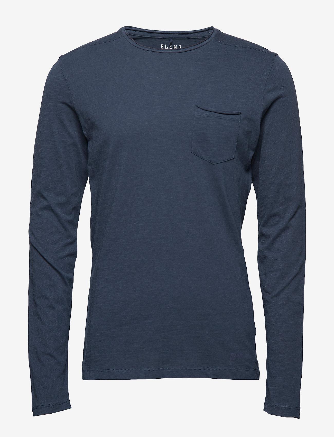 Blend - BHNICOLAI tee l.s. NOOS - basic t-shirts - midnight blue - 0