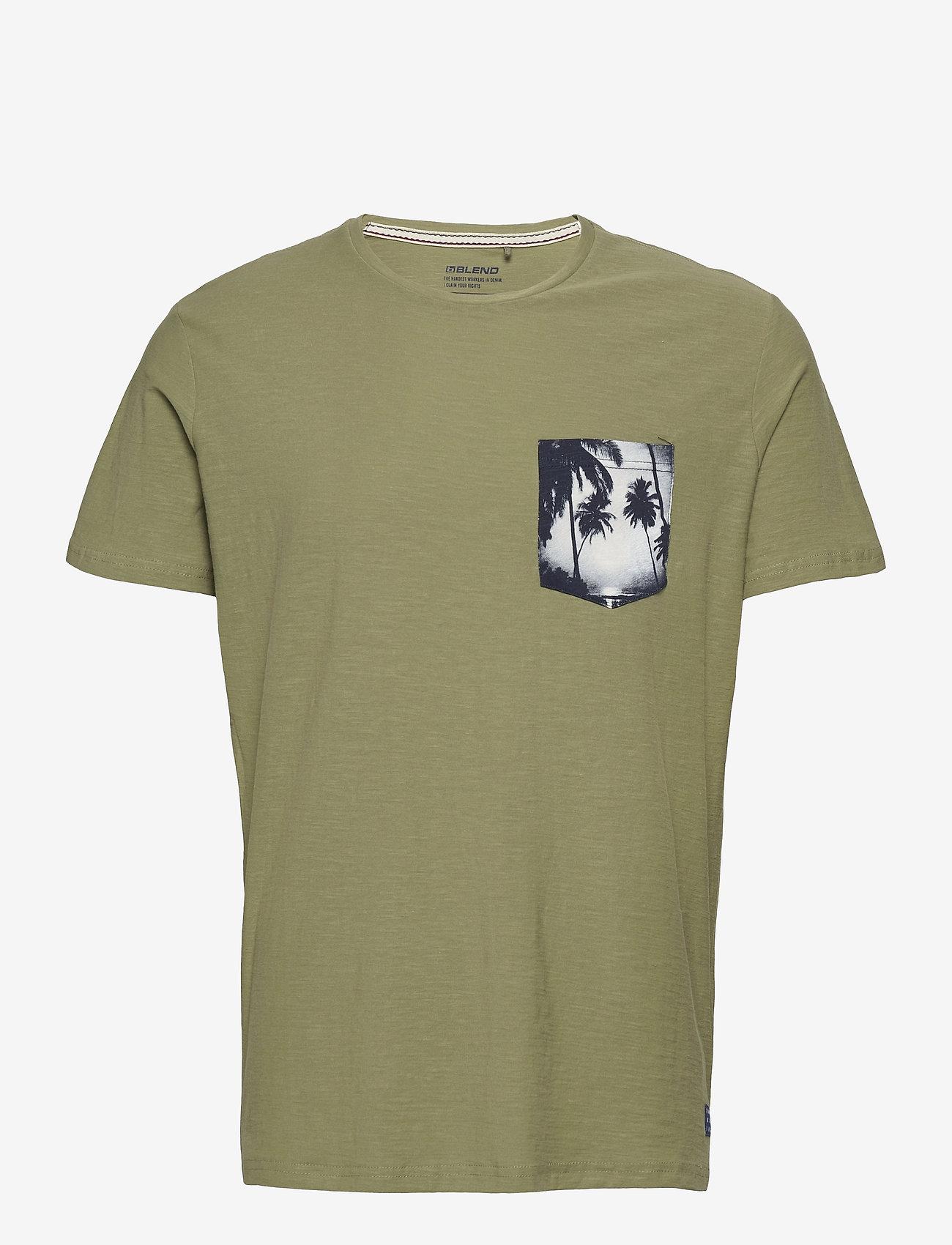 Blend - Tee - basic t-shirts - oil green - 0
