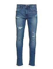 Jeans Jet fit w. destroyings - DENIM LIGHTBLUE