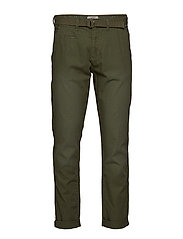Pants w. belt - DUSTY GREEN