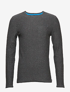 Pullover - basic strik - pewter mix