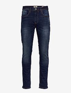 Jeans - w. scratches - DENIM DARK BLUE