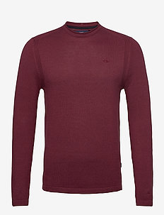 Pullover - basic strik - tawny port